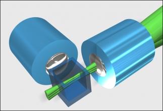 Bildtext: Ein Hydrogel aus lebenden Zellen und lichtempfindlichen Molekülen wird in einer dünnen Schicht mit Laserlicht beleuchtet (grüner Strahl). Dadurch entstehen 3D-Mikrostrukturen, die Gewebe und seine Funktion nachbilden. Das verbleibende Hydrogel wird nach dem Druckprozess ausgewaschen. Bild: F. Pampaloni, BRIGHTER, 2019