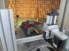 Bild: Messung einer Geige und Gitarre im reflexionsarmen Raum. Copyright: IfM
