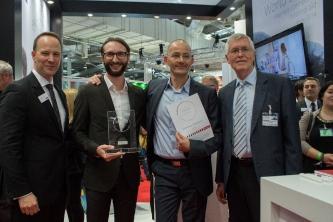 Smart Hearing Award 2016 für Schiller & Gebert Hörgeräte – Joachim Gast, Marco Gebert, Rico Schiller, Professor Dr. Jürgen Kießling (v. li. n. re.) (Foto:  ReSound).